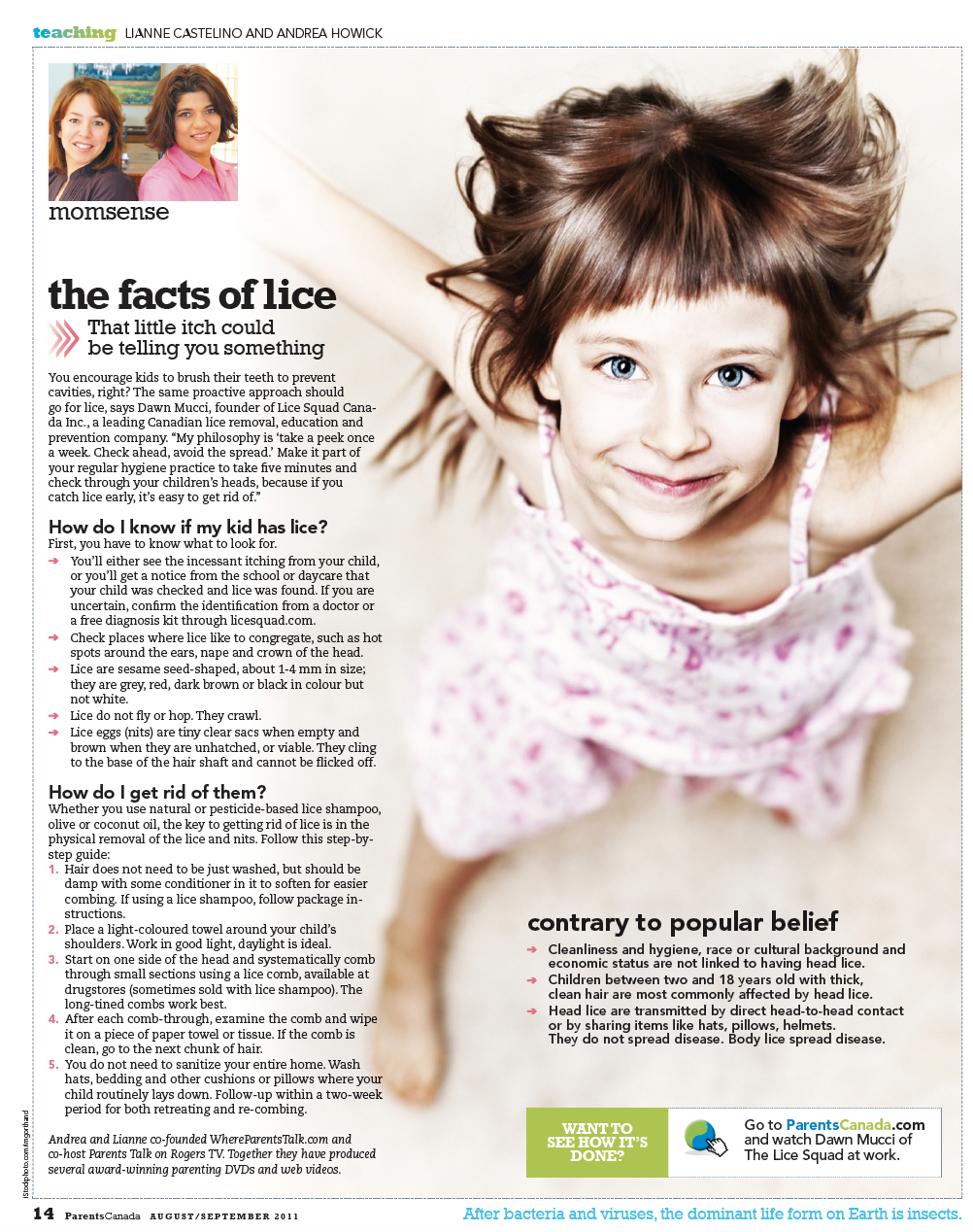 The Facts of Lice Article from ParentsCanada Momsense column