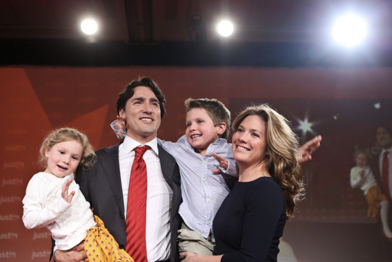 Justin Trudeau, Sophie Gregoire-Trudeau and their two children
