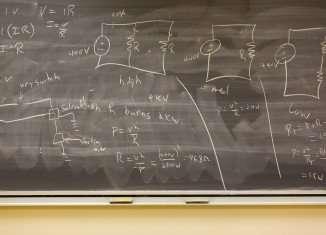 Education - Formulas on a blackboard.