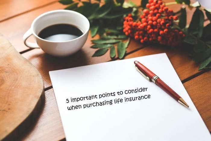 5 important points to consider when purchasing life insurance