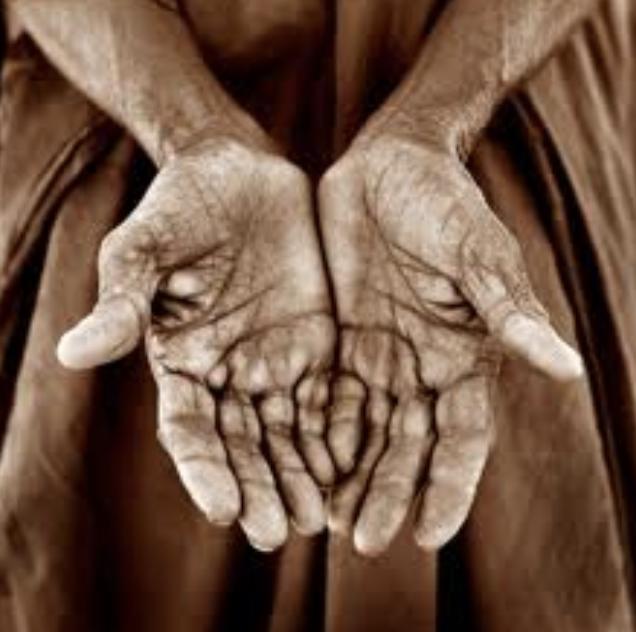Elderly man's hands close-up