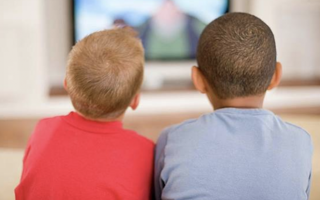 Two young boys watching tv back view - Just Do It Already