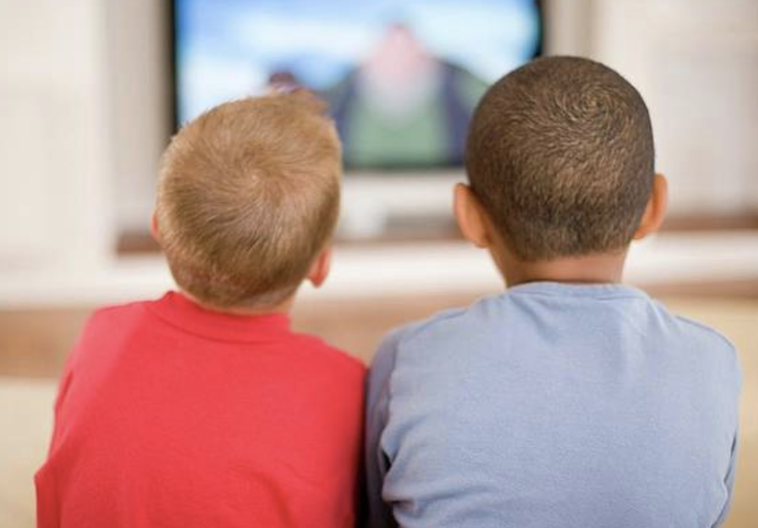 Two young boys watching tv back view