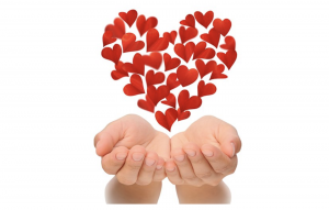 The Pure Power of Passion - Flowers in heart shape hovering over hands