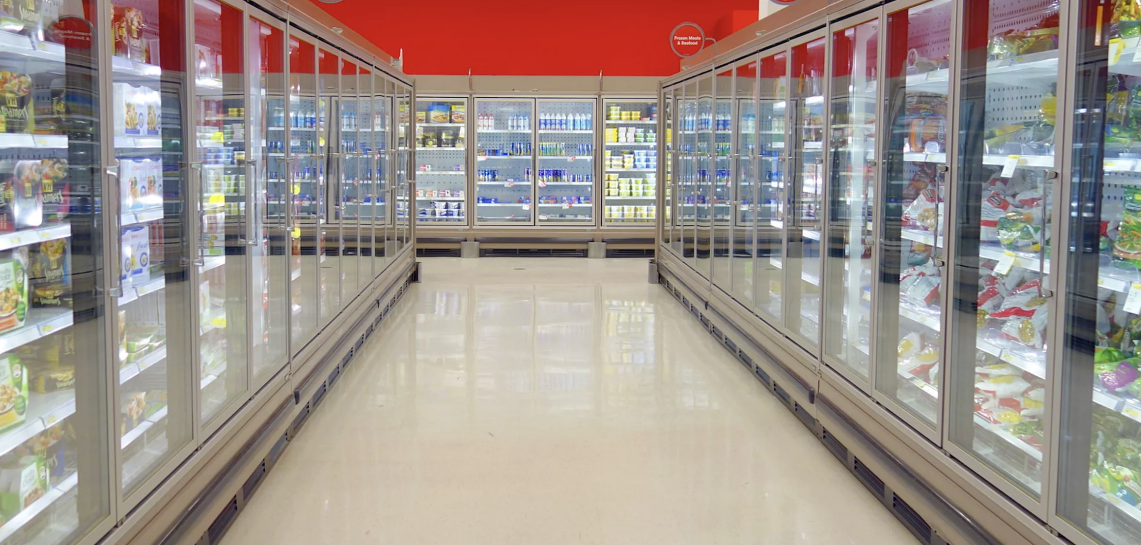Frozen Food Aisle in Grocery Store - pre packaged foods