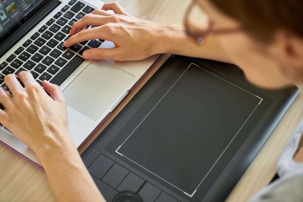 working on laptop during pandemic