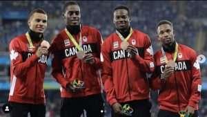 Canada's 4 x 100 metre relay men's team win bronze at Rio Olympics